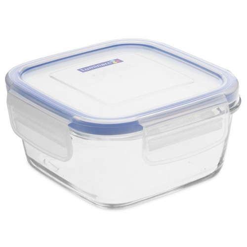 Luminarc Tempered Glass Square Storage Dish With Plastic Lid  380ml