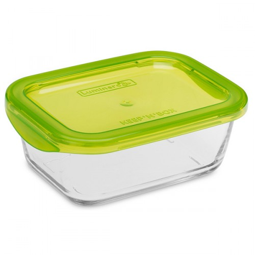Luminarc Tempered Glass Rectangular Storage Dish With Plastic Lid 370ml