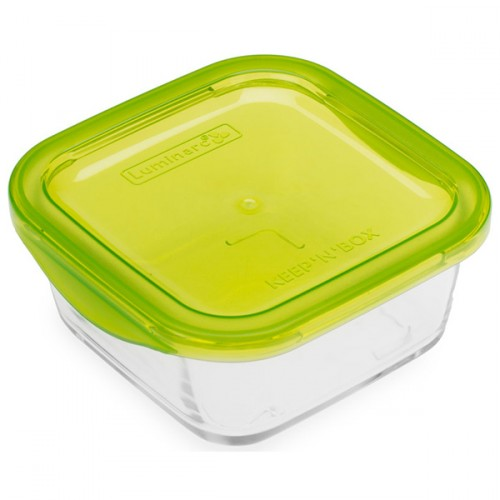 Luminarc Tempered Glass Square Storage Dish With Plastic Lid 360ml