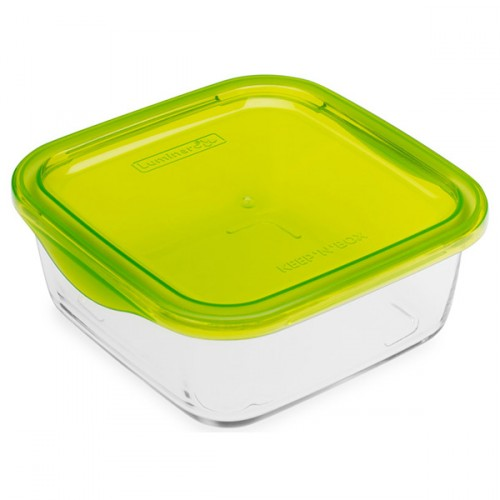 Luminarc Tempered Glass Square Storage Dish With Plastic Lid 720ml