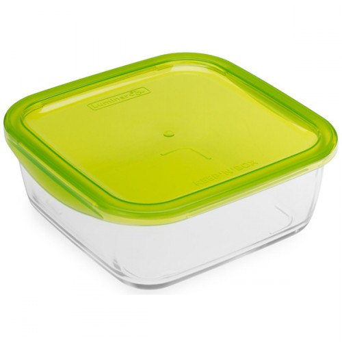Luminarc Tempered Glass Square Storage Dish With Plastic Lid 1170ml