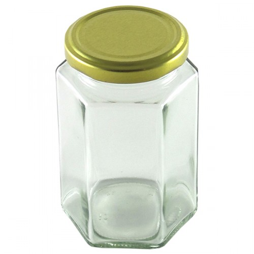 Glass Mason Jar Hexagonal Jar 300ml